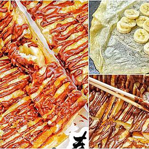 一秒到泰國!道地「泰國香蕉煎餅」銅板價就有!餅皮外酥、內軟,又不油膩!雖然熱量爆表...但真的邪惡好吃啊!>///<(文