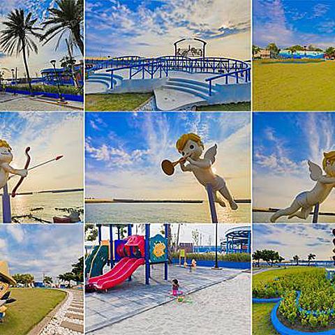 高雄旅遊 - 彌陀南寮海岸光廊 x 不只有兒童區還有超美落日風景!