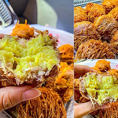 阿達海鮮餐廳 X 新鮮香濃炸榴槤丸 現炸金黃外酥內軟 芋頭絲和芋頭泥的外皮 大量驚人榴槤內餡 超大顆跟拳頭一樣大啊